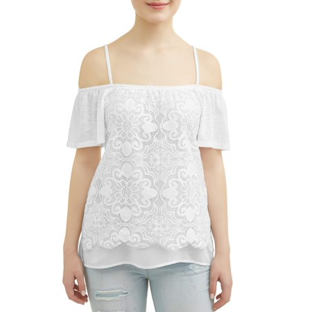 No Boundaries Juniors' Cold Shoulder Lace Overlay Flutter Sleeve Blouse