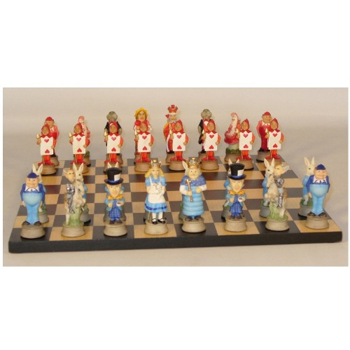 Alice in Wonderland Resin Chess Set with Black   Maple Veneer Board by World Wise Imports
