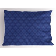 Navy Blue Pillow Sham Antique Baroque Damask Inspired Motifs Abstract Flowers Ornamental Victorian Garden, Decorative Standard Queen Size Printed Pillowcase, 30 X 20 Inches, Blue, by Ambesonne