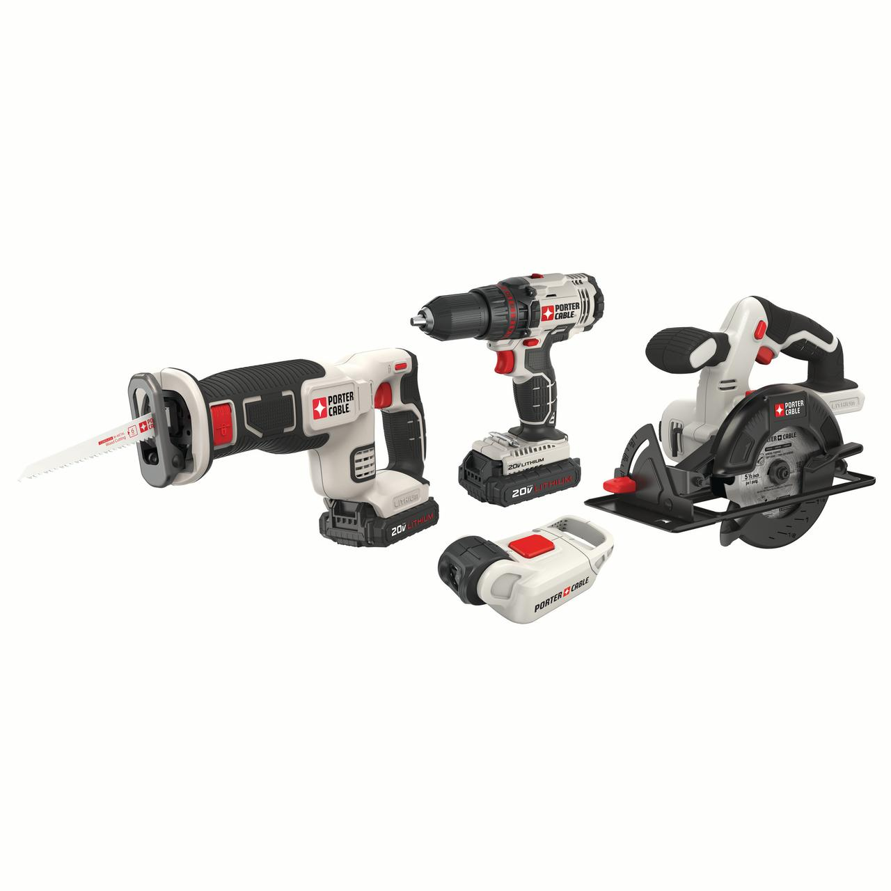 PORTER CABLE PCCK612L2 20V MAX Lithium-Ion 1/2-Inch Cordless Drill & -Inch Circular Saw