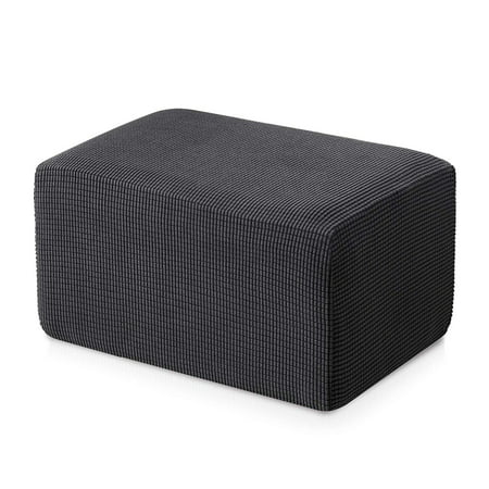 Subrtex Stretch Storage Ottoman Slipcover Spandex Elastic Rectangle Footstool Sofa Cover for Living Room (Oversize, Gray)