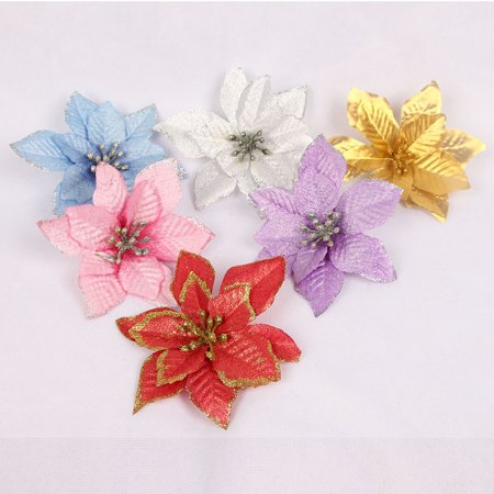 Girl12Queen 3Pcs Glitter Poinsettia Christmas Tree Ornaments Artificial Decor Party Supplies](Glitter Christmas Ornaments)