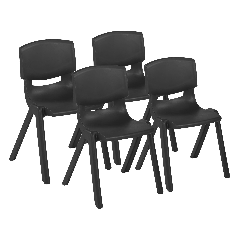 18in Resin Stack Chair - Black