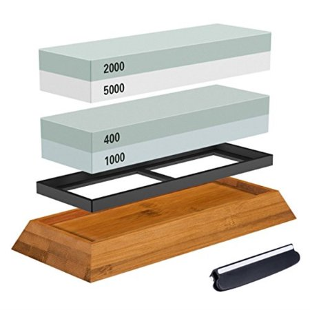 Premium Knife Sharpening Stone Kit, ASEL 4 Side 4001000 20005000 Grit Whetstone, Best Kitchen Blade Sharpener Stone, NonSlip