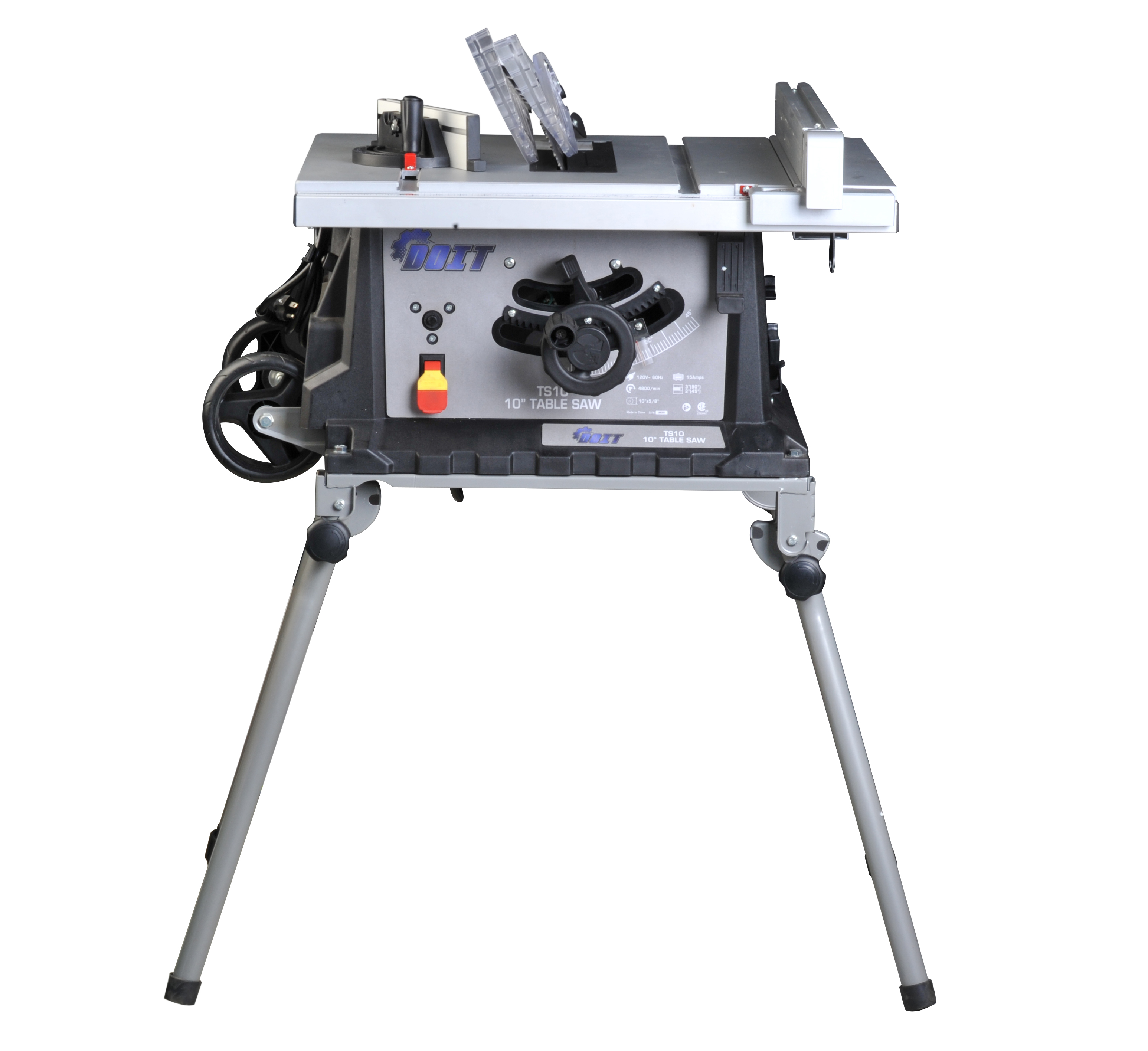 "Ainfox 15 Amp 10"" Table Saw Foldable Stand With Wheels Fence Movable 4800/min Speed"