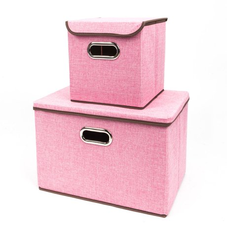 ktaxon storage bins 2 pack fabric foldable basket cubes organizer boxes containers drawers. Black Bedroom Furniture Sets. Home Design Ideas