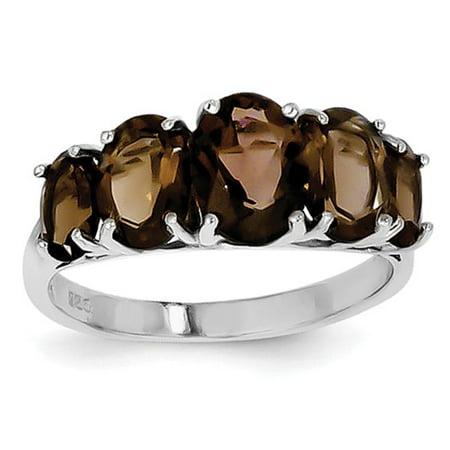 Sterling Silver Rhodium Smokey Quartz Ring. Gem Wt- 3ct