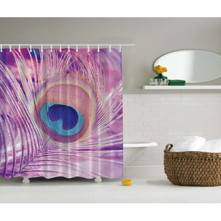 Ambesonne Peacock Feather Print Single Shower Curtain
