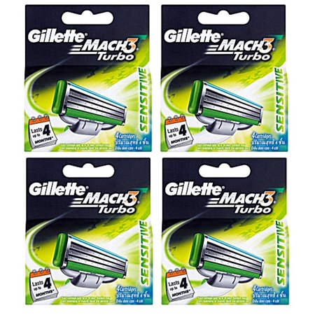 0.5 Diamond Turbo Blade (Gillette Mach3 Turbo Sensitive Refill Blade Cartridges, 4 Count (Pack of)