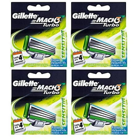 Gillette Mach3 Turbo Sensitive Refill Blade Cartridges, 4 Count (Pack of (Gillette Mach3 Turbo Sensitive Cartridges Pack Of 8)