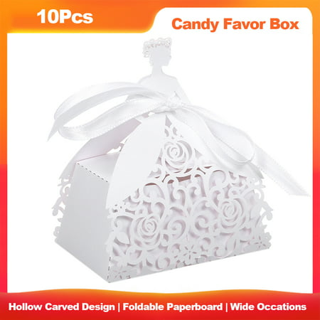 Wine Themed Wedding Favors (10Pcs Cut Favor Boxes Hollow Design Candy Box Gift With Ribbons for Garden Theme Wedding Birthday Bridal Shower Anniversary Favors Lightweight)