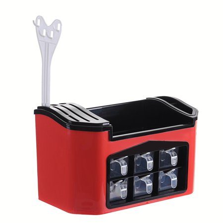Kitchen Box Storage Organizer for Tableware Cutlery Condiment Knives Holder - Red ()