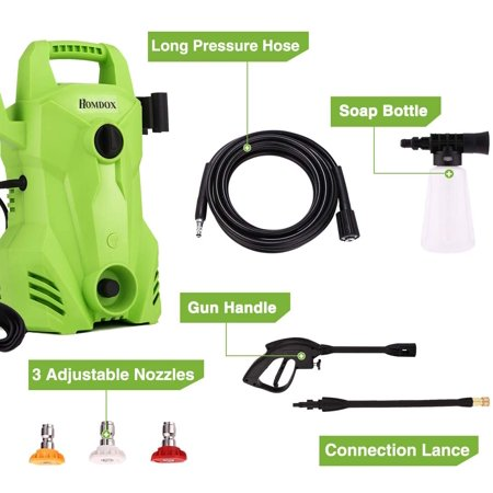 2300 PSI 1.6 GPM Electric Pressure Washer, 1400W Portable Electric Power Washer with External Detergent Dispenser,3 Nozzles HFON