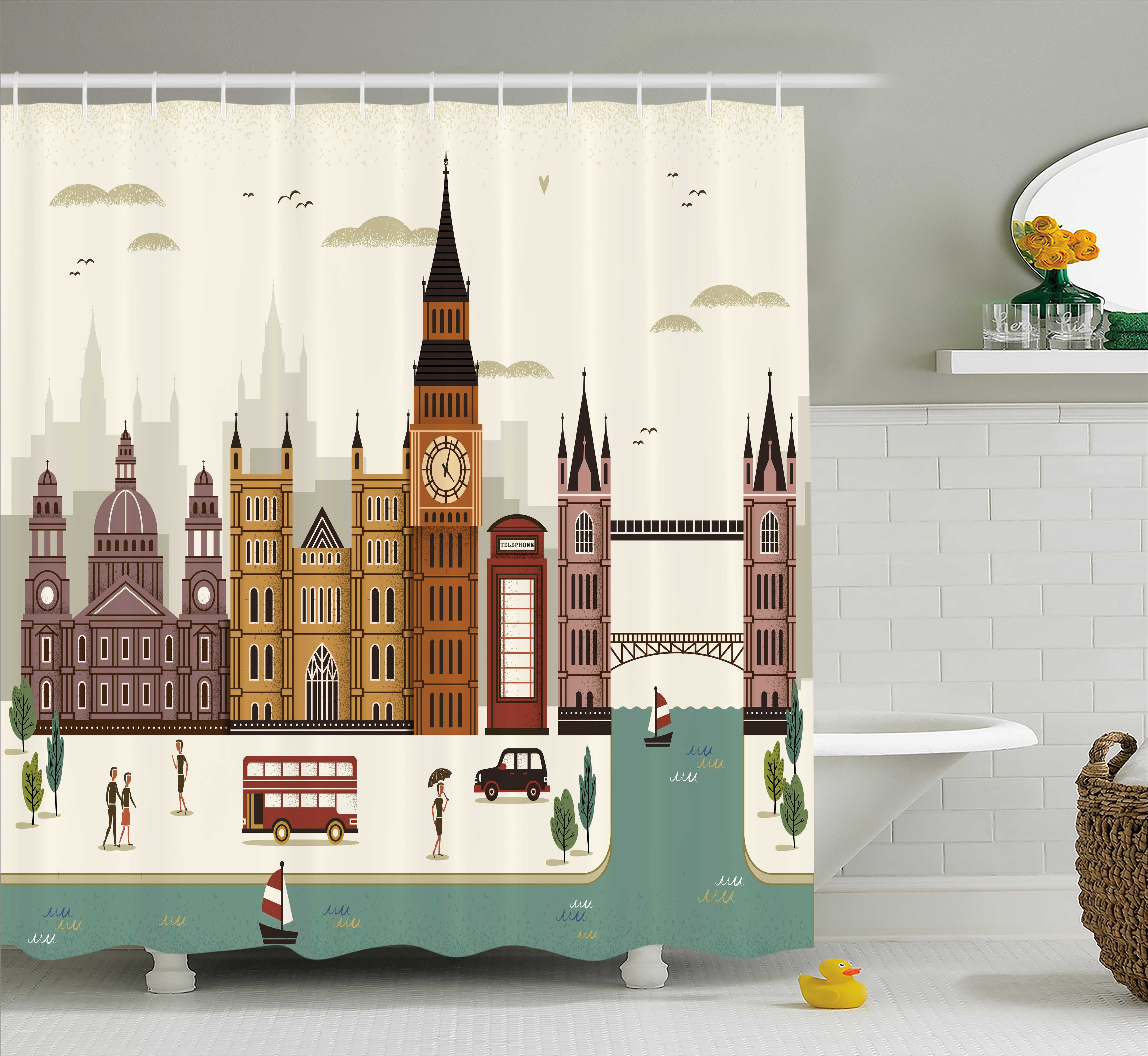 London Shower Curtain, Attractive Travel Scenery Famous City England Big Ben Telephone Booth Westminster, Fabric Bathroom Set with Hooks, 69W X 75L Inches Long, Multicolor, by Ambesonne