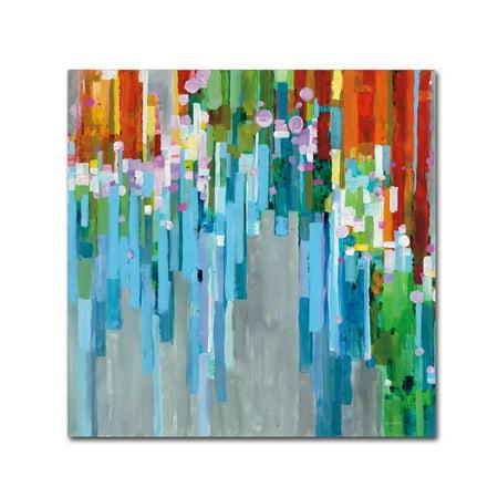 Trademark Fine Art 'Rainbow of Stripes Square' Canvas Art by Danhui Nai