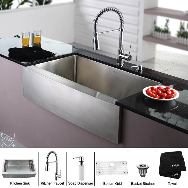 Kraus KHF200-36-KPF1612-KSD30CH Single Basin Farmhouse Kitchen Sink with Faucet