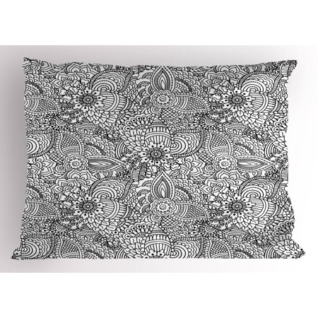 Henna Pillow Sham Monochrome Design Ethnic Cultural Pattern Intricate Mehendi Swirls Asian Leaves, Decorative Standard Queen Size Printed Pillowcase, 30 X 20 Inches, Black White, by (Easy Mehendi Designs For Hands Latest 2015)