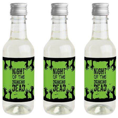 Zombie Zone - Mini Wine and Champagne Bottle Label Stickers - Halloween Zombie Crawl Party Favor Gift for Women and Men - Halloween Bake Sale Labels