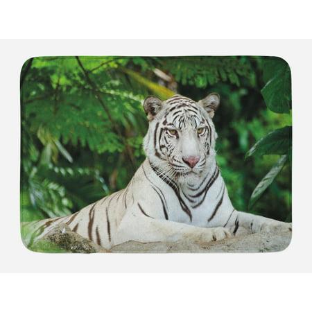 Tiger Bath Mat Albino Bengal Cat Sitting On A Rock In
