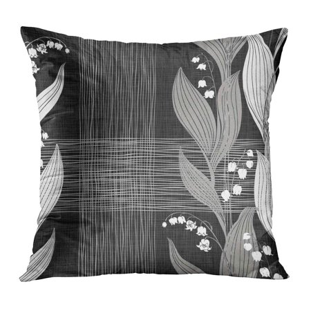 ECCOT Black Pattern Lilies of The Valley Floral Silhouettes on Botanical Drawing Flower Forest Leaf Pillowcase Pillow Cover Cushion Case 20x20 - Lily Silhouette