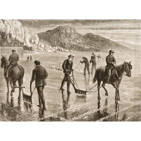 Posterazzi DPI1839464LARGE Harvesting Ice On The Hudson River In The 1870s From American Pictures Drawn with Pen & Pencil by Rev Samuel Manning Poster Print, Large - 34 x 24
