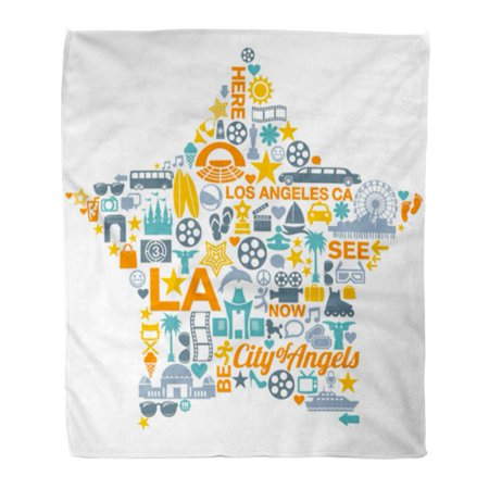 Los Angeles Blanket - LADDKE Flannel Throw Blanket Angels Los Angeles California Symbols Landmarks Monica Santa Pier Soft for Bed Sofa and Couch 50x60 Inches