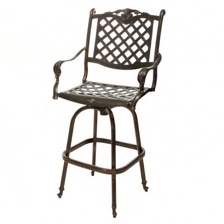 noble house cast aluminum copper outdoor bar stool walmart com