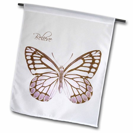 3dRose Believe Pink Butterfly - Inspirational Art - Garden Flag, 12 by 18-inch
