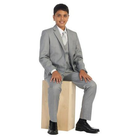 Boys Light Gray Vest Pants Jacket Necktie White Shirt 5 Pcs Suit Set 8-18