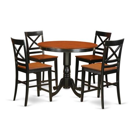 Counter Height Dining Small Kitchen Table & 2 Bar Stools with Backs, Black Finish ()
