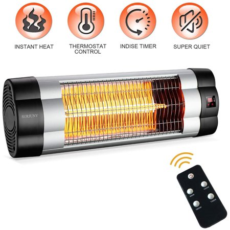 Image of Electric Outdoor Patio Heater, SURJUNY Indoor/Outdoor Infrared Heater with LCD Display, 1500W Adjustable Thermostat, 3 Seconds Instant Warm, Waterproof IP34, Wall-Mounted Infrared Heater