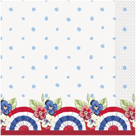 Pioneer Woman Red White and Blue Patriotic Paper Dinner Napkins, 8in, 20ct