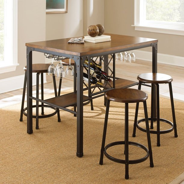 Steve Silver Rebecca 5 Piece Wine, Bar Height Table With Storage