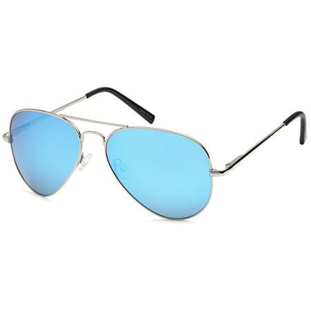 c3f4219219 JETPAL Premium Classic Aviator UV400 Sunglasses w Flash Mirror Lenses -  Polarized Blue Lens on Silver Flex Arm Frame - Walmart.com
