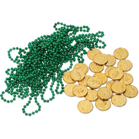 Sant Patrick's Day Leprechaun Loot Necklaces Toy Coin Party Favor Decoration (Patricks Supply)