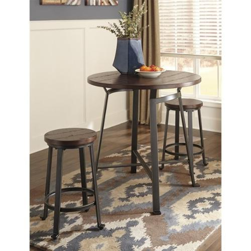 Ashley Challiman 3 Piece Counter Round Dining Set in Rustic Brown