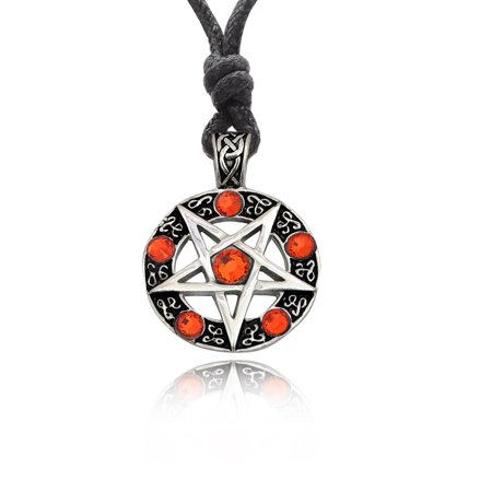 Orange Pentagram Silver Pewter Charm Necklace Pendant Jewelry With Cotton Cord