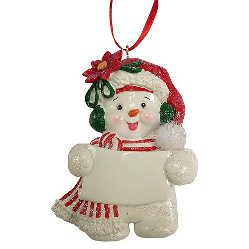 Snowman In Poinsettia Hat Christmas Ornament to Personalize #W30289