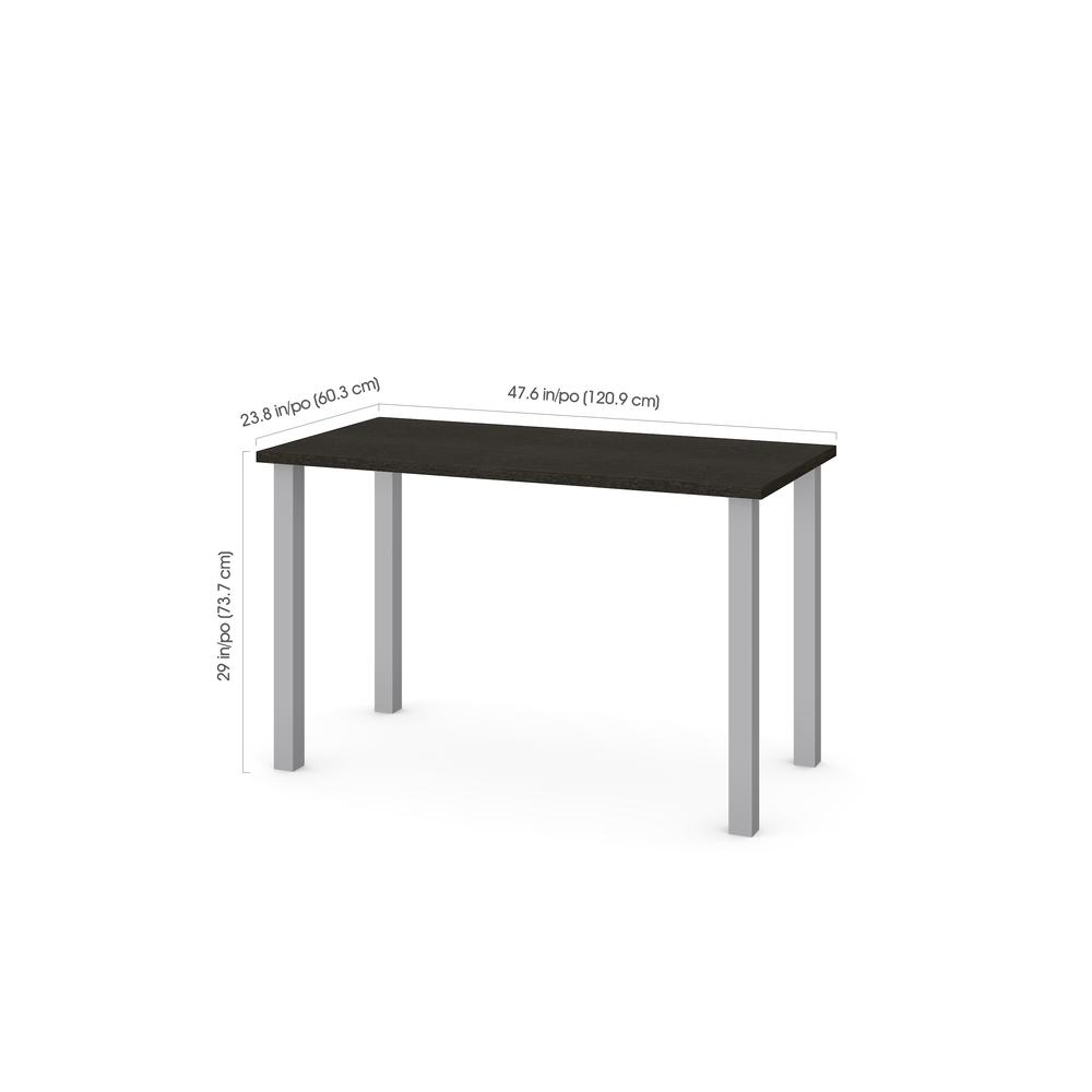 """Bestar 24"""" x 48"""" Table with square metal legs in Deep Grey by Overstock"""