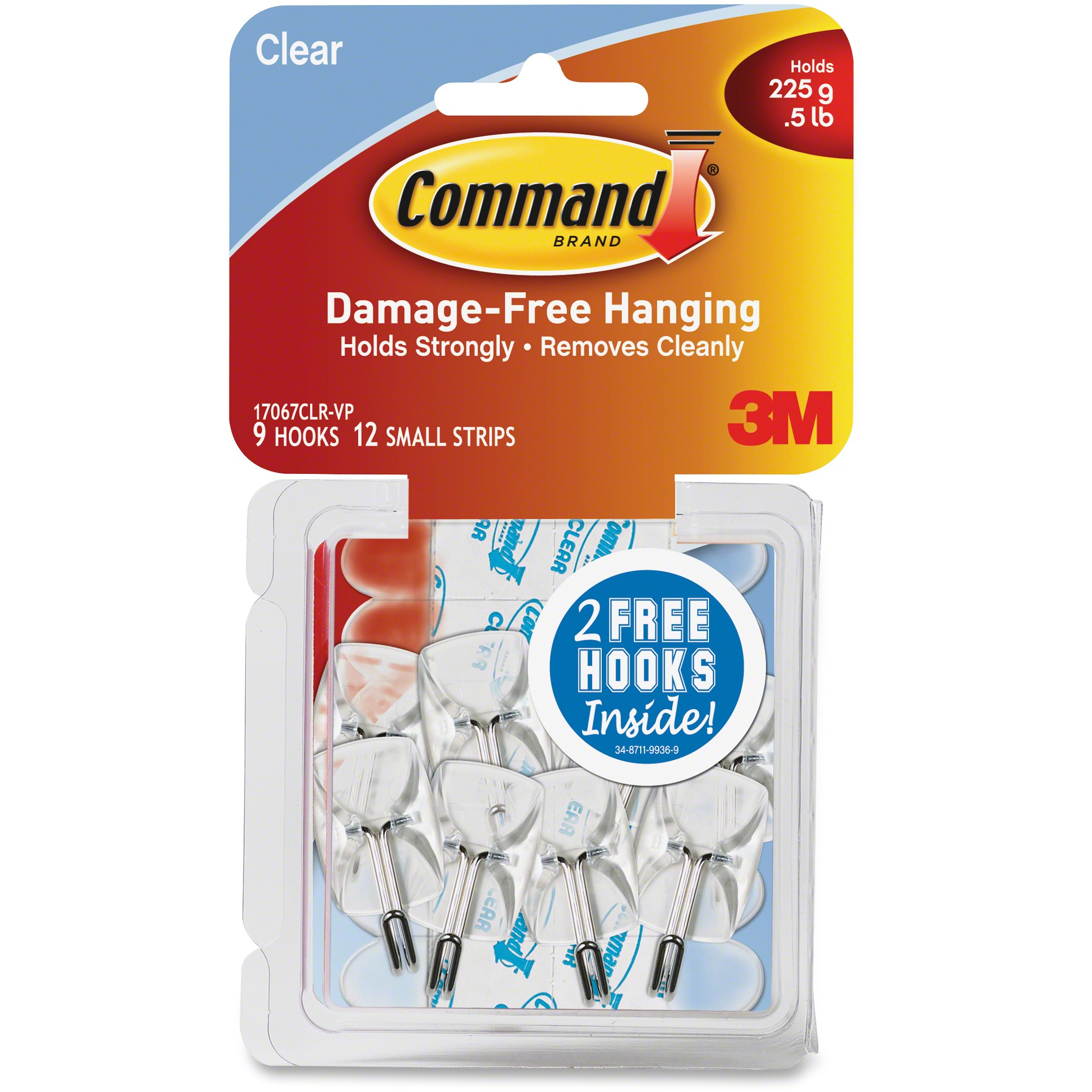Command Clear Wire Hooks, Small, 9 Hooks, 12 Strips/Pack