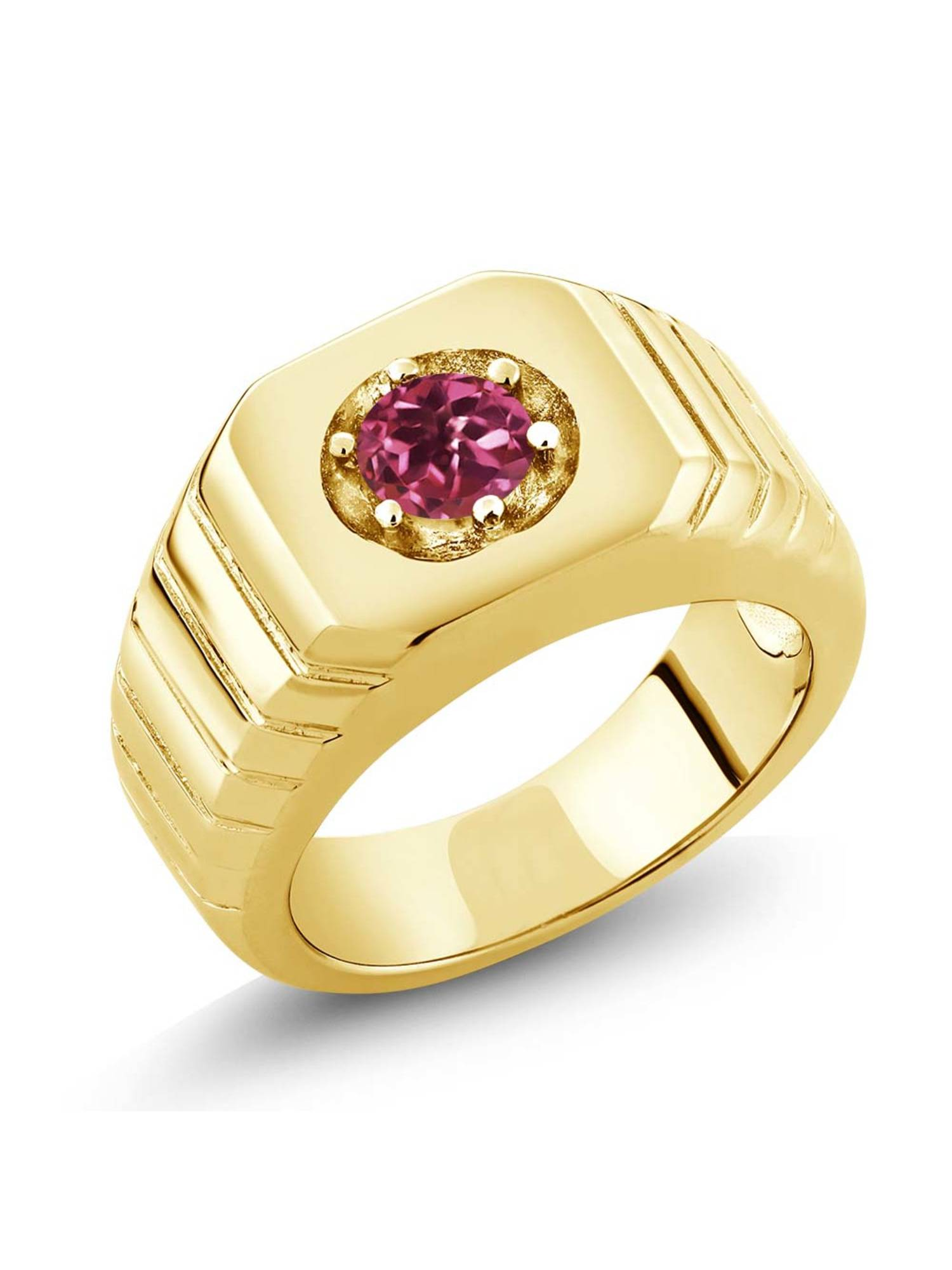 0.50 Ct Pink AA Tourmaline AA 18K Yellow Gold Plated Silver Men's Solitaire Ring by