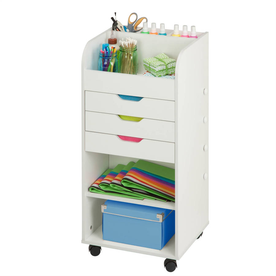 Perfect Honey Can Do Craft Storage Cart With 3 Drawers And Rollers, White