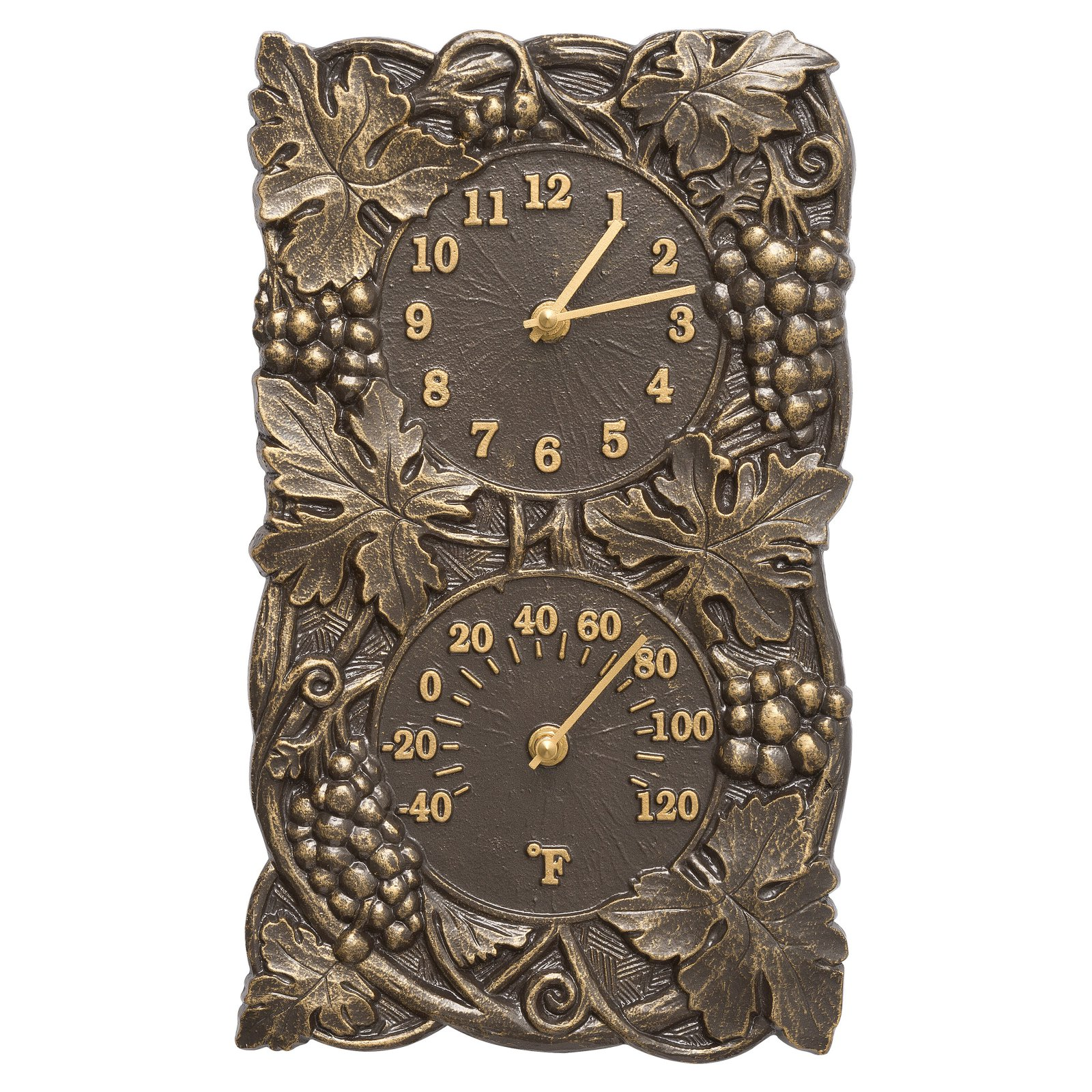 Whitehall Products Grapevine Indoor/Outdoor Wall Clock and Thermometer
