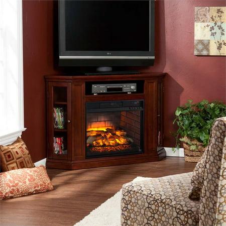 Bowery Hill Corner Fireplace Tv Stand In Cherry Walmart Com