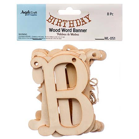 New 379589  Angels Craft Wood Letters Birthday (12-Pack) School Supplies Cheap Wholesale Discount Bulk Stationery School Supplies - Cheap Craft Supplies