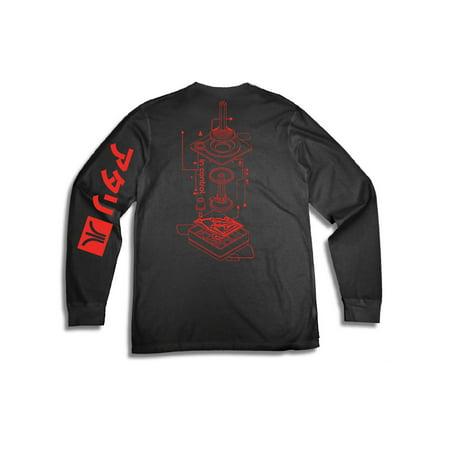 Video Game Sleeves (Men's Atari Logo Machine Long Sleeve Video Game Long Sleeve Graphic T Shirt )