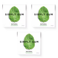 Simply Gum, Peppermint Chewing Gum, Non Gmo, Vegan, 15 Pcs,3 Ct