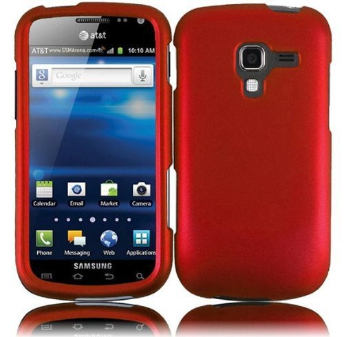 Hard Rubberized Case for Samsung Galaxy Exhilarate i577 - Red