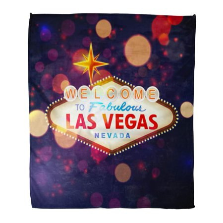 LADDKE Flannel Throw Blanket Party Night Welcome to Las Vegas Sign Bokeh Casino Soft for Bed Sofa and Couch 50x60 Inches](Casino Theme Night)