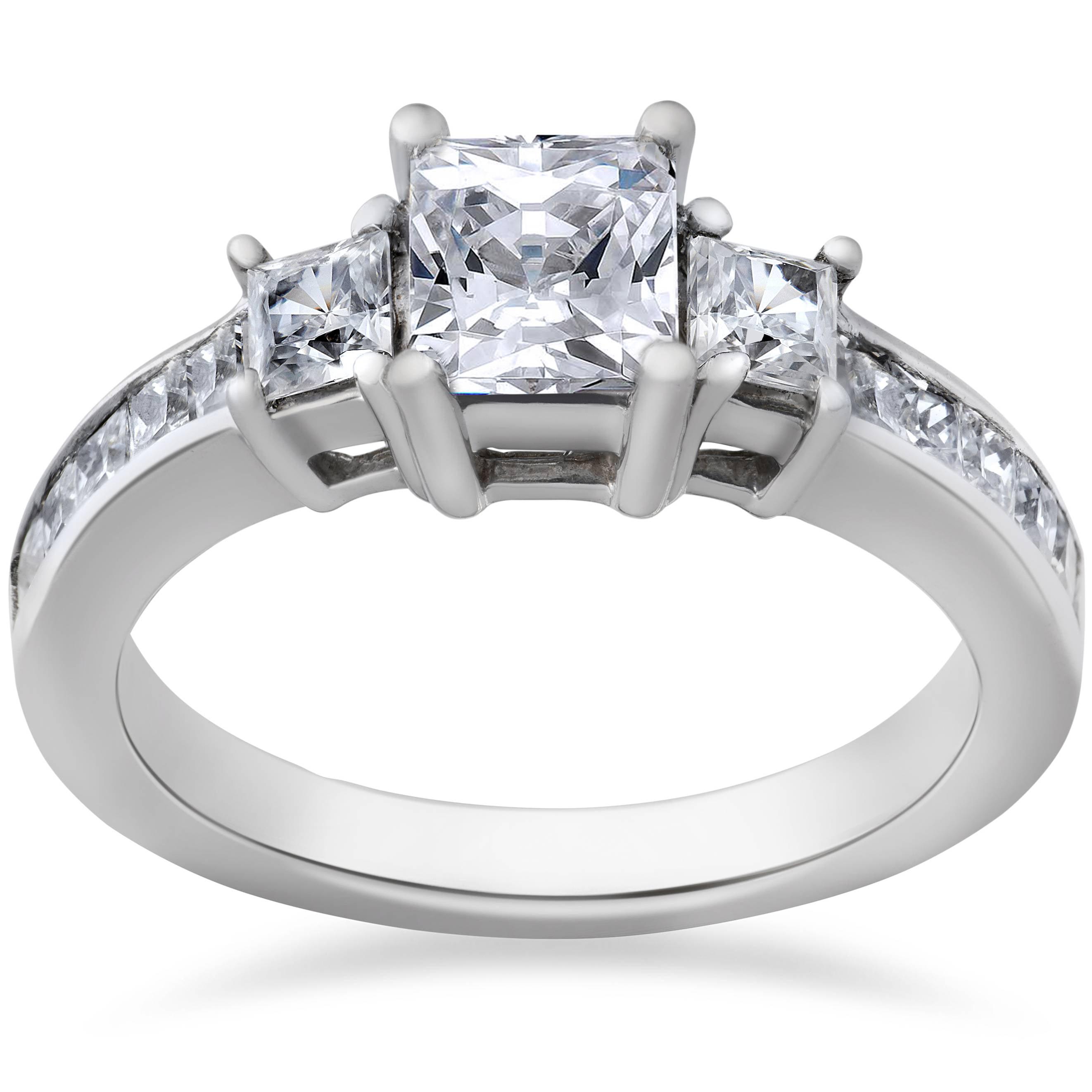 2 Ct Princess Cut Diamond 3 Stone Engagement Ring 14k White Gold Walmart Canada
